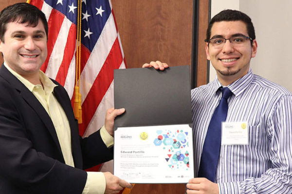 Ed Portillo receiving an award for COPD CARE.