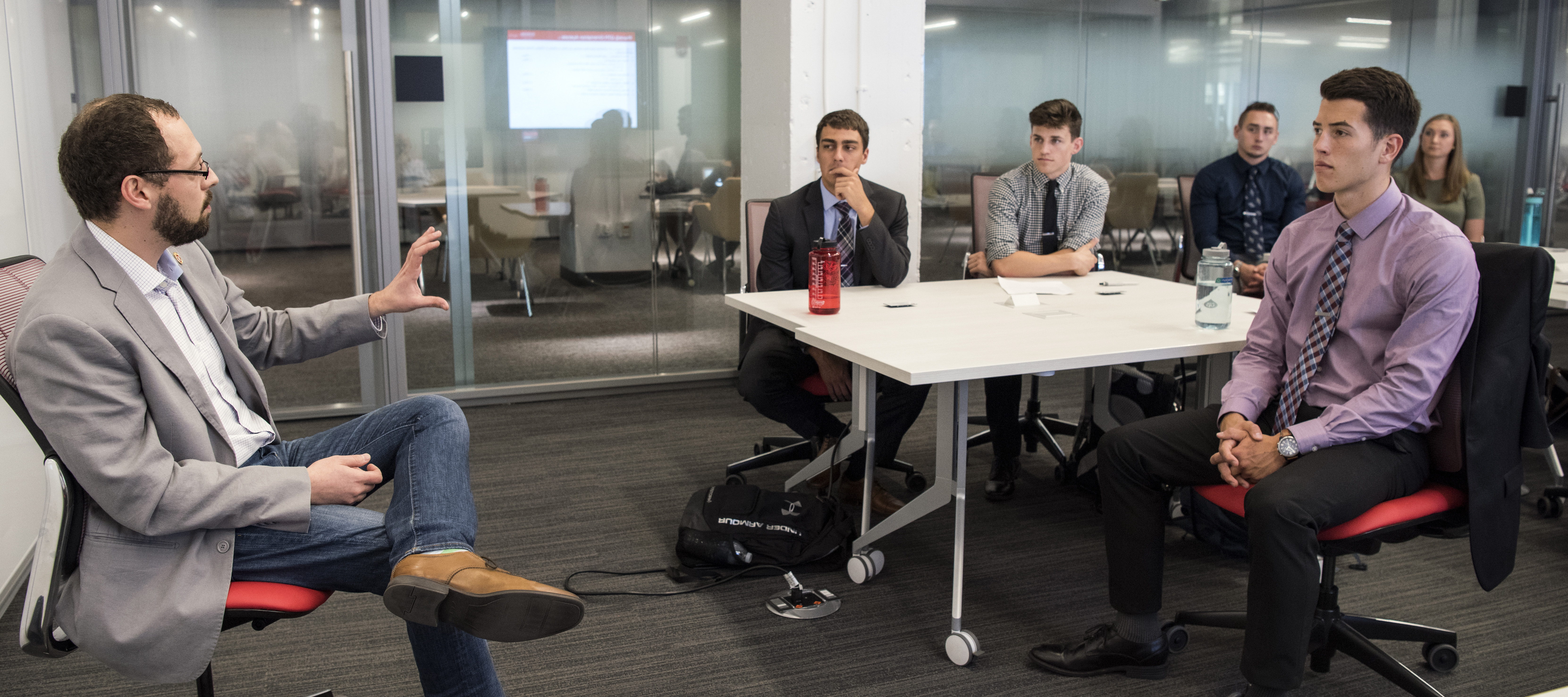 PharmD students at orientation for a new business option in the PharmD program